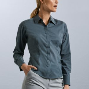 Ladies Long Sleeve Poly-Cotton Easy Care Fitted Poplin Shirt Vignette