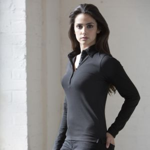 Women's long sleeve stretch polo Vignette