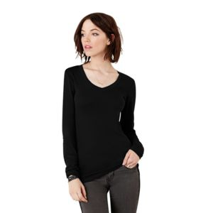 Sheer mini rib long sleeve v-neck t-shirt Vignette