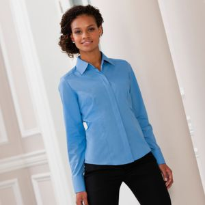 Women's long sleeve polycotton easycare fitted poplin shirt Vignette