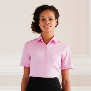 Women's short sleeve pure cotton easycare poplin shirt Vignette