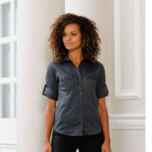 Women's roll-sleeve ¾ sleeve shirt Vignette