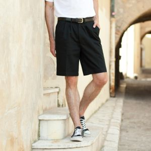 Teflon®-coated double pleat front chino shorts Vignette
