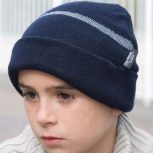 Children's Wooly Ski Hat with Reflective Woven Threaded Band Vignette